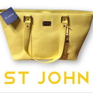 NWT large St John vinyl tote Lemon Zest
